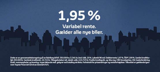 1,95 % rente på alle nye biler