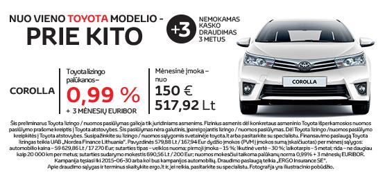 Specialus Corolla pasiūlymas - NUO VIENO TOYOTA MODELIO - PRIE KITO*.