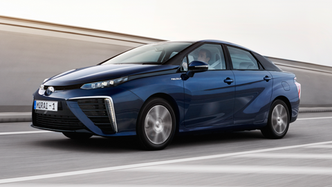 Mirai, driving, daytime, highway' fuel cell, Toyota