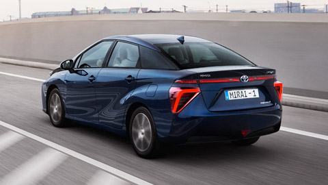 Mirai, Fuel Cell, Hydrogen, driving, rear shot